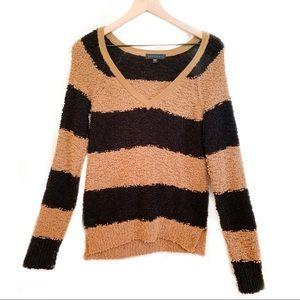 Black and Brown Stripe V-Neck Sweater